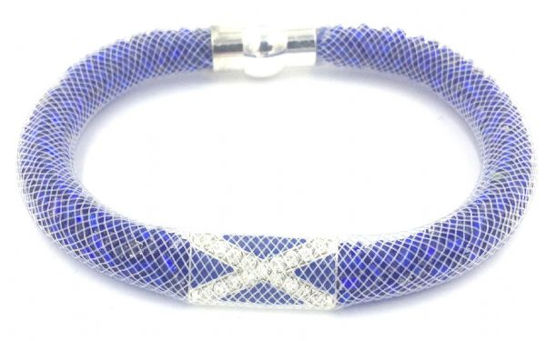Scottish Starburst mesh bracelet kit - dark blue  beads with white mesh - Makes 5 bracelets MK009